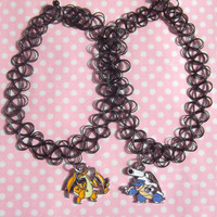 Mega Charizard or Mega Blastoise 90s black tattoo choker