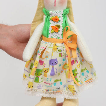 Handmade designer soft toy unusual textile toy bright rabbit for girls