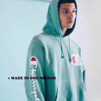 VONEB7T Champion couple sets the head sweater couple models Plus velvet hooded sweater simple printing class service Mint Green