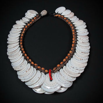 White Shell Necklace. Conus Shell Wealth Neck Ornament From East Sepik Province Papua New Guinea