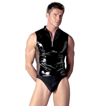 High Quality Male Exotic Apparel Faux Leather Zipper Undershirts Sexy Men Mesh Splice Black Tank Undershirts+Briefs Lingerie Set