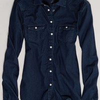 AEO Women's Dark Denim Western Shirt (Blue)