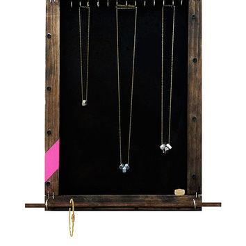 Jewelry Organizer Display // Necklaces, Bracelets, Rings Storage Holder // Accessory Organizer Hooks // Eco-Friendly Reclaimed Wood // Gift