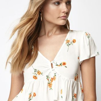 LA Hearts Button Front Babydoll Top at PacSun.com - ivory | PacSun