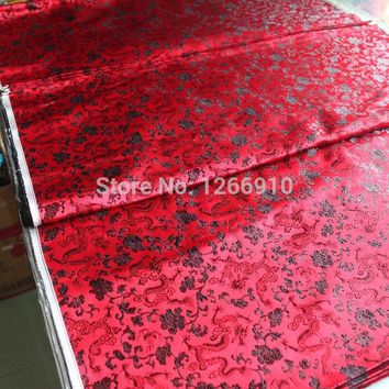 chinese silk brocade woven damask damask fabric cheongsam cushion red back black small dragon  Tapestry satin