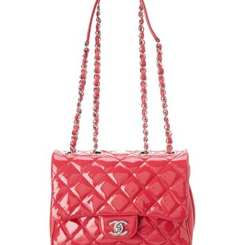 Chanel Chanel Pink Quilted Patent Leather Small Half Flap Bag | Bluefly.Com