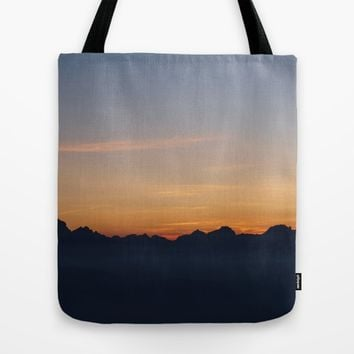Mountain Range Silhouette Tote Bag by Mixed Imagery