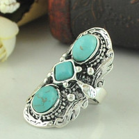 Ethnic Turquoise Decorated Ring