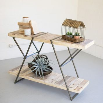 Recycled Wood & Metal Sofa Table