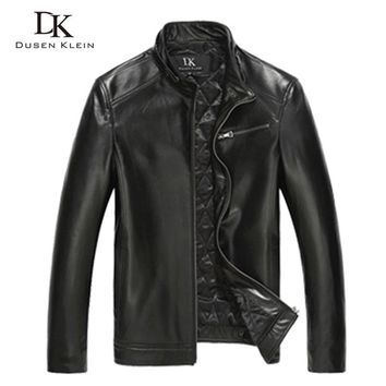 Luxury Cotton leather Jacket men Genuine Sheepskin New Dusen Klein Brand slim designer style leather Coat Black DK108