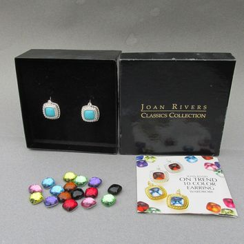 New in Box 1990's Vintage Joan Rivers 10 Color InterChangeable Silver Tone On Trend Leverback Drop Earring Set