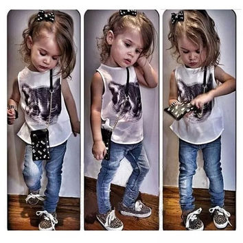 Sky One® Girls Summer Fashion Cat Vest + Jeans 2-7Y = 1929784580
