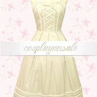 Beige Lace Bandage Cotton Sweet Lolita Dress