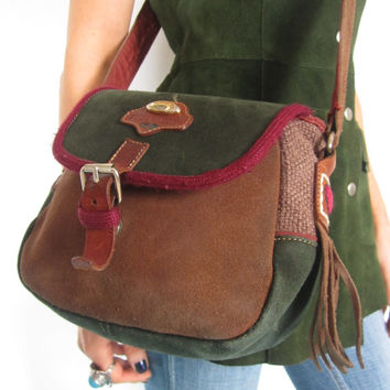 Vintage 1980s Ted Benson Green Brown and Burgundy Suede Shoulder Bag Handbag Saddle Bag Crossbody Bag Satchel Purse Hippie Boho Festival