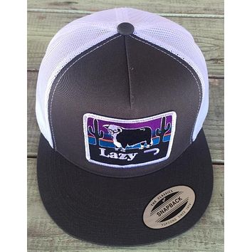 """Lazy J Ranch Wear Hereford and Sunset Hat (Grey/White) 4"""""""