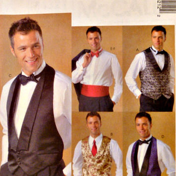 Mens Lined Vest Bow Tie Cummerbund Pattern Two Vest Styles Tuxedo Formals Grooms Accessories McCalls 4321 Sewing Patterns Uncut Size Choice