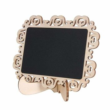 10Pcs/Rack Mini Lace Square Wooden Chalkboard Table Number Place Holder Wedding Decoration