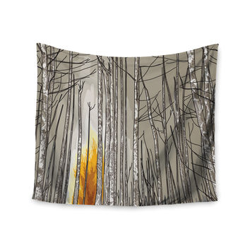 "Sam Posnick ""Smokey Forest Fire"" Brown Orange Wall Tapestry"