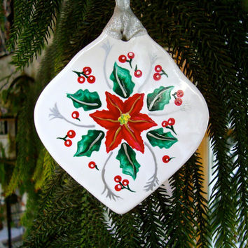 Painted Poinsettia Christmas Ornament