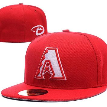 LMFON Arizona Diamondbacks New Era 59FIFTY MLB Hat Red-White