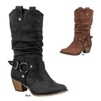 NEW Women Western Cowboy Slouch Pull Up Mid Calf Block Med Heel Boots Booties
