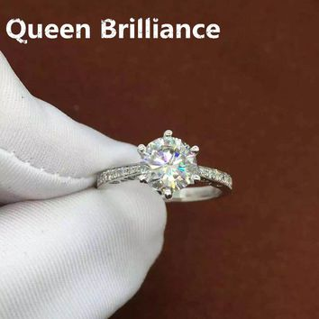 14KT White Gold 1 Carat Color Engagement & Wedding Lab Grown Moissanite Diamond Ring W/ Natural Diamond Accents