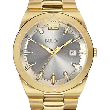 Bulova Mens Classic Watch - Gold-Tone Case & Silver-Tone Dial - Date Window