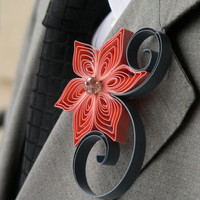 Coral and Grey Wedding Boutonniere, Coral Boutonniere, Grey Boutonniere, Coral and Grey Boutonniere, Summer Wedding
