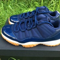 "[Free Shipping ] Air Jordan 11 Low ""Blue Navy"" Running Sneaker"