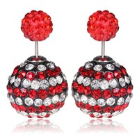 Mise en Gum Tee Style Tribal Earrings  - Crystal Drip Red & White