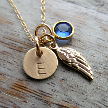 Bronze Angel wing necklace, Personalized Gold fill Initial disc and Swarovski crystal birthstone charm, 14k gold filled chain, Memorial