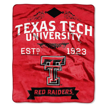Texas Tech Red Raiders NCAA Royal Plush Raschel Blanket (Label Series) (50x60)