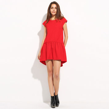 Red Ruched One Button Back A-line Draped Mini Dress