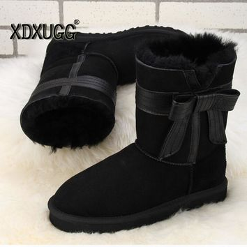 Australian natural sheep fur snow boots female calf height winter Keep warm butterfly knot Flat heel boots,Free shipping