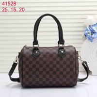 LV Louis Vuitton tide brand female wild Boston handbag messenger bag Coffee check
