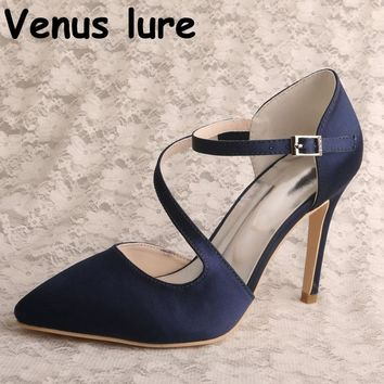 Sexy Navy Pump High Heels Pointed Toe Women Shoes Wedding Party Dropshipping