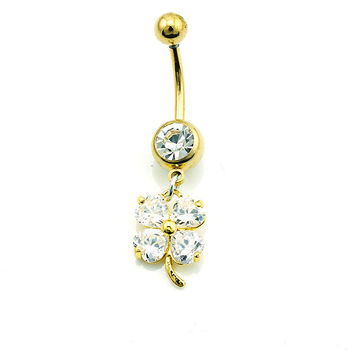 New Charming Dangle Crystal Navel Belly Ring Bling Barbell Button Ring Piercing Body Jewelry = 4804899396