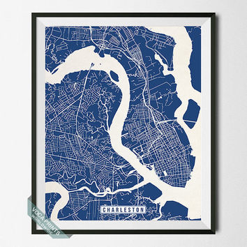 Charleston Print, South Carolina Poster, Charleston Map, Charleston Poster, South Carolina Print, Street Map, Wall Art