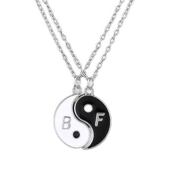 Charming Jewelry Accessories Yin And Yang Two Stitching Pendant Necklace Color Best Friend Gift