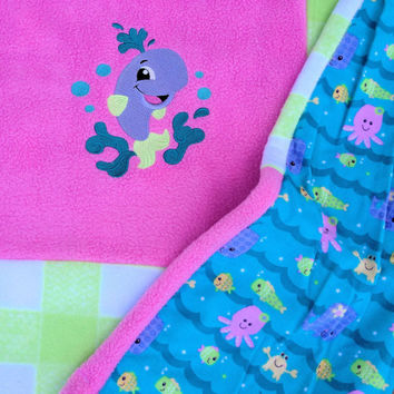 """Baby Blanket ( Handmade, Fuzzy Baby Crib Blanket with whale embroidery ) 36"""" X 35"""""""