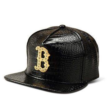 Korean Baseball Cap Gold Alphabet Hip-hop Hats [6540876675]