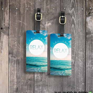 Luggage Tags Relax Ocean Waves Vintage Style Metal Luggage tag  Printed Custom Info Single Tag or Set Available