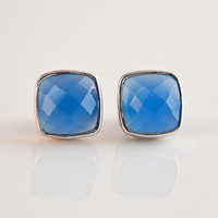 Faceted Cushion square cut Blue Chalcedony Sterling Silver bezel set Stud Post Earrings - Gemstone gold or silver - May Birthstone