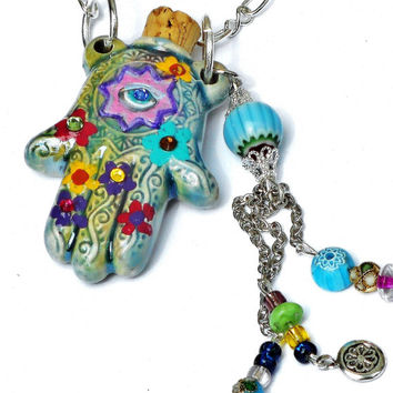 Ceramic Hamsa Necklace Hand Painted Flowers Boho Chic Spiritual Aromatherapy Jewelry FREE SHIPPING