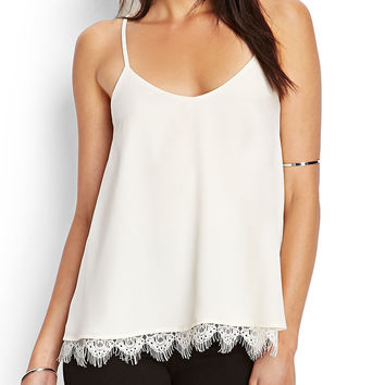 White Lace Trimmed Chiffon Cami