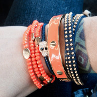 University of AUBURN TIGERS Orange and Blue candy crush stackable bracelet set