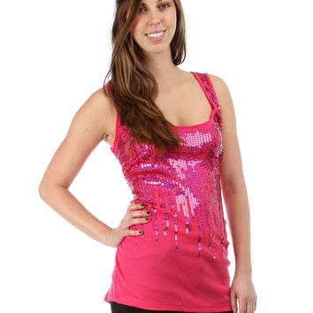 Fuchsia Sequin Rib Plus Size Tank Top