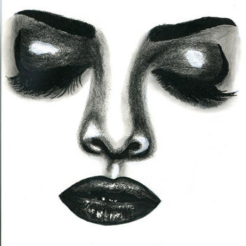 sleeping woman original art pencil drawing, pencil drawing black and white art makeup beauty artwork fantasy pop eyes lips