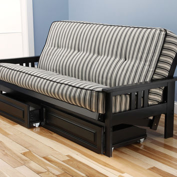 Woodbury Full Size Futon Sofa and Drawer Set, Black Painted Hardwood Frame And Tufted Dynamic Fibers Innerspring Mattress, Navy Stripe