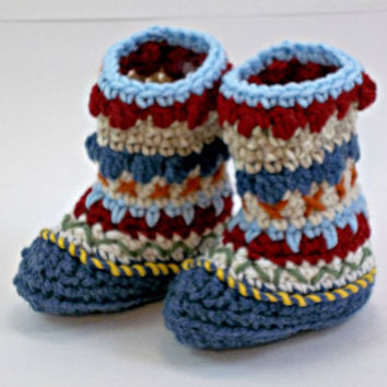 Baby Booties Mukluk or Granny Boots Denim Burgundy Beige 3-6 months OOAK